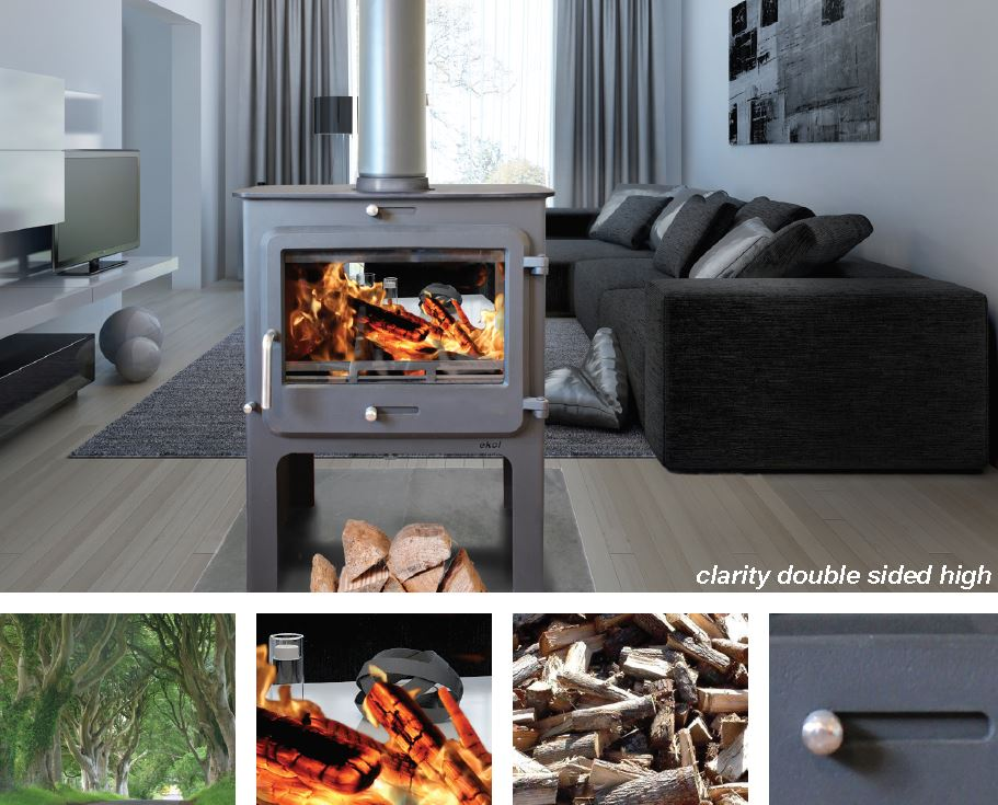 Ekol Clarity Double Sided High Defra Approved Stoves