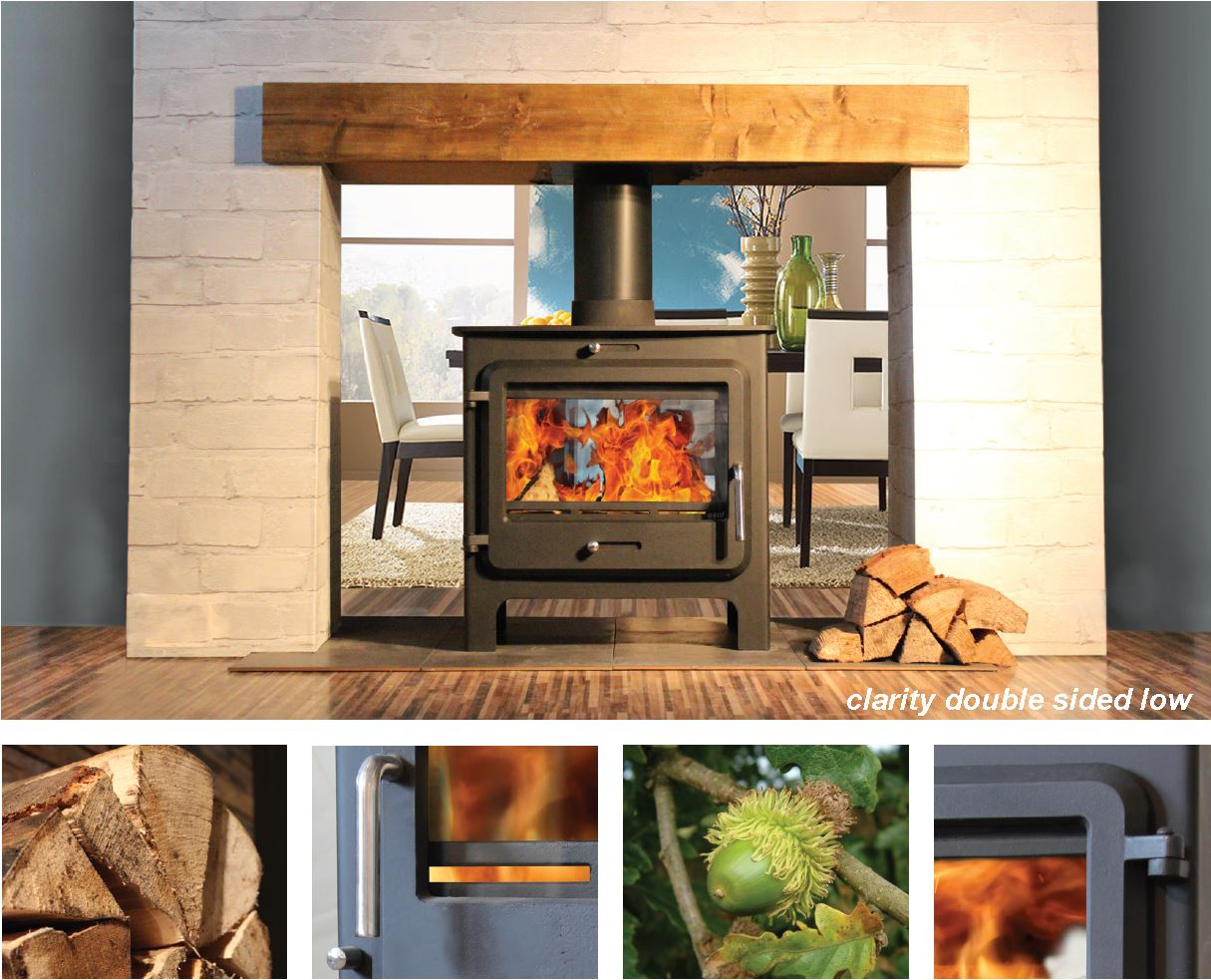 Attractive Ekol Clarity Double-Sided High - Double-Sided Stoves | Woodburning  KN68